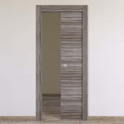 Porta da interno scorrevole Cover palissandro grigio 60 x H 210 cm reversibile