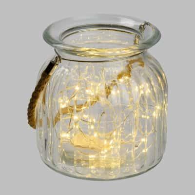 Vasetto in vetro minilucciole Led classica gialla H 14,5 cm