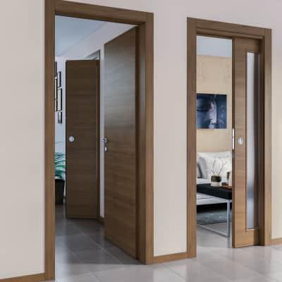 Porta da interno battente Stenophylla Cacao 80 x H 210 cm reversibile