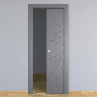 Porta da interno scorrevole Flower ash cenere 70 x H 210 cm reversibile