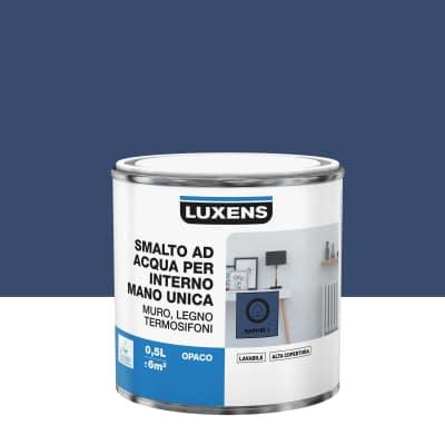 Smalto manounica Luxens all'acqua Blu Zaffiro 1 opaco 0.5 L