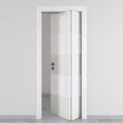 Porta da interno pieghevole asimmetrica Melangè bianco 70 x H 210 cm dx