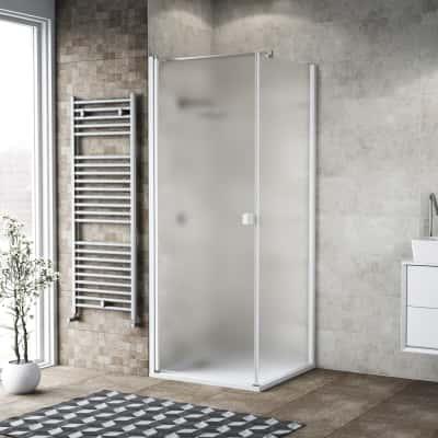 Doccia con porta battente e lato fisso Neo 87 - 89 x 77 - 79 cm, H 200 cm vetro temperato 6 mm bianco opaco