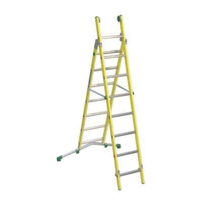 Scala sfilo alluminio Facal 7+8 gradini, per lavori fino a 5,1 m