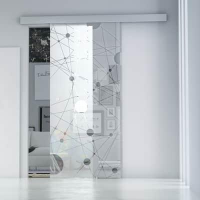 Porta da interno scorrevole Euclide/binario Alu 96 x H 215 cm ...