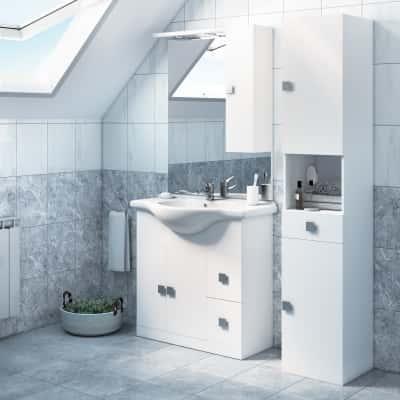 Mobile bagno super bianco l 85 cm prezzi e offerte online for Pensili per bagno leroy merlin