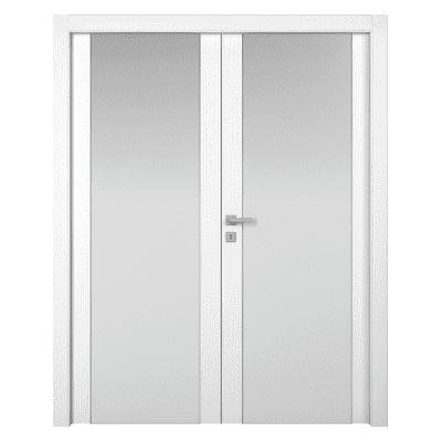 Porta da interno battente Plaza 2 Ante Frassino Bianco 160 x H 210 cm sx
