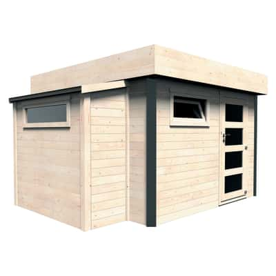 casetta in legno grezzo Brean 10,21 m², spessore 28 mm