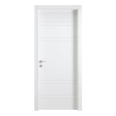 Porta da interno battente One White Incisa + kit telaio bianco 80 x H 210 cm reversibile