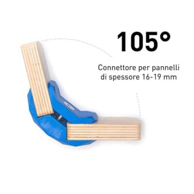 4 connettori Playwood 105° per pannelli in legno in plastica hi-tech blu