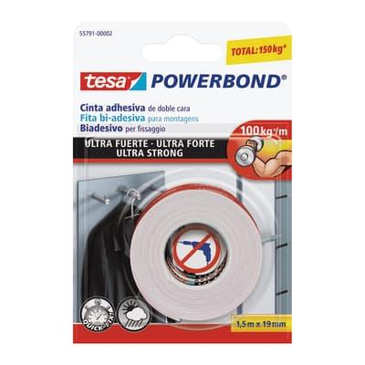 Nastro biadesivo Powerbond ultra forte Tesa bianco 1,5 m x 19 mm