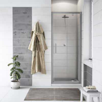 Porta doccia battente Quad 67.5-69, H 190 cm cristallo 6 mm trasparente/silver