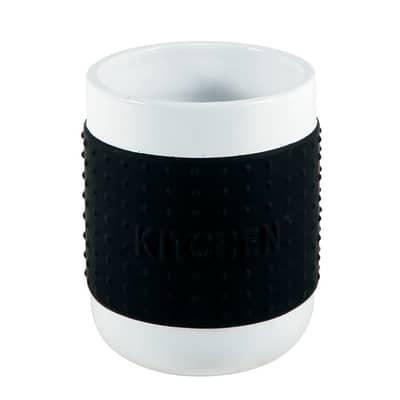 Porta posate e mestoli bianco/nero H 14 cm