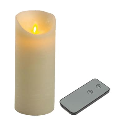 Candela avorio con telecomando 1 minilucciole Led classica gialla H 18 cm