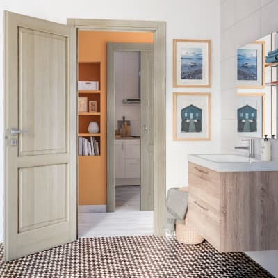 Porta da interno battente Vermeer rovere sbiancato 80 x H 210 cm sx