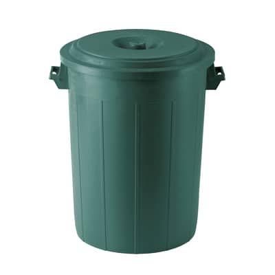 Bidone con coperchio verde satinato 70 L