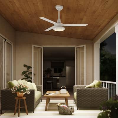 Ventilatore da soffitto con luce per esterno led integrato for Ventilatore con nebulizzatore per interni