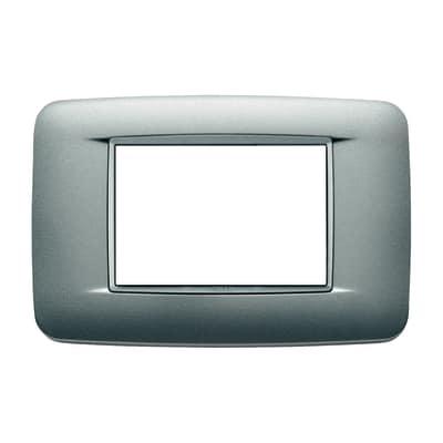 Placca 7 moduli Vimar Eikon Round argento matt