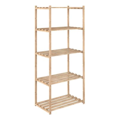 Scaffale legno 5 ripiani l 65 x p 40 x h 171 cm prezzi e for Scaffali in legno grezzo