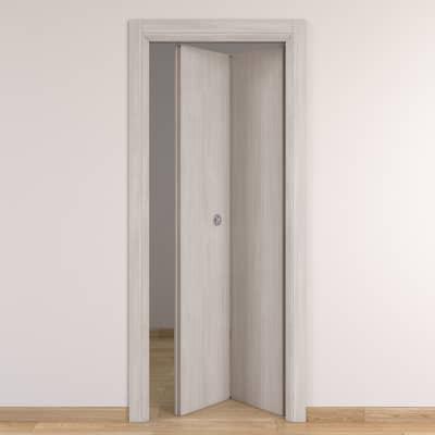 Porta da interno pieghevole Brooklyn frassino bianco 80 x H 210 cm dx