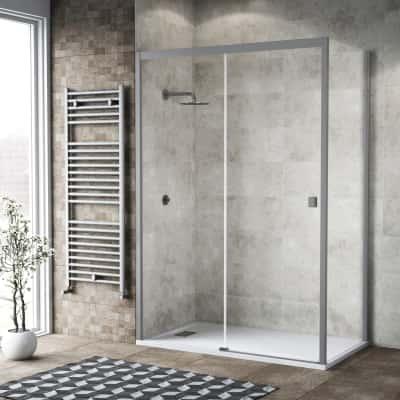 Doccia con porta scorrevole e lato fisso Neo 142 - 146 x 77 - 79 cm, H 200 cm vetro temperato 6 mm trasparente/silver