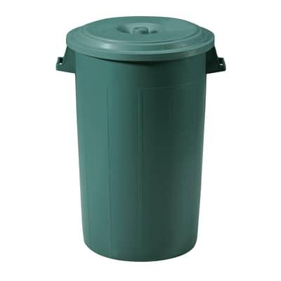 Bidone con coperchio verde satinato 100 L