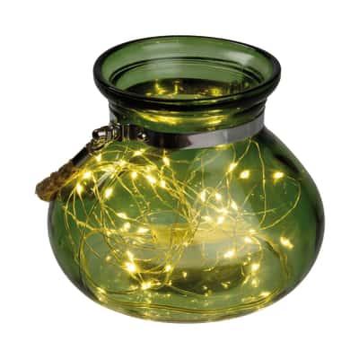 Vasetto verde in vetro 40 minilucciole Led classica gialla