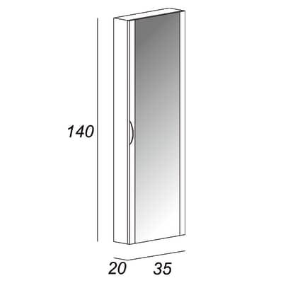 Colonna 1 anta L 35 x P 20 x H 140 cm rovere sbiancato