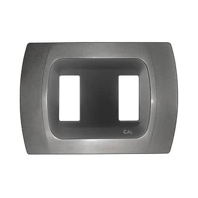 Placca CAL Click-Laser 2 moduli antracite metallizzato compatibile con magic