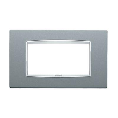 Placca VIMAR Eikon 4 moduli argento metal