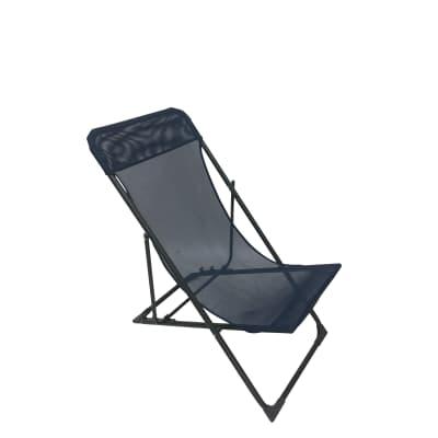 Sedia da giardino senza cuscino pieghevole in acciaio Biganos colore blu