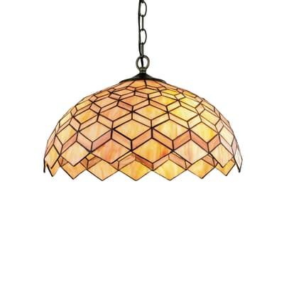 Lampadario Liberty arancione, bronzo, rame, ruggine, in vetro, diam. 45 cm, E27 3xMAX42W IP20