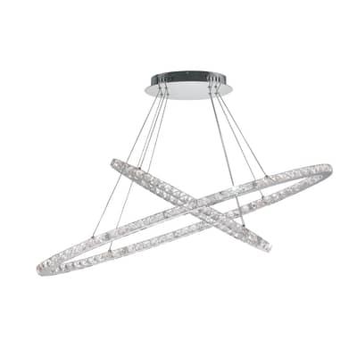 Lampadario Melody grigio, in metallo, diam. 120 cm,  LED 2luci