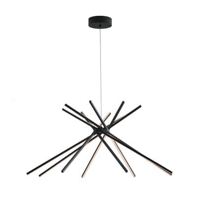 Lampadario Design Shanghai LED integrato nero, in metallo, L. 160 cm, FAN EUROPE