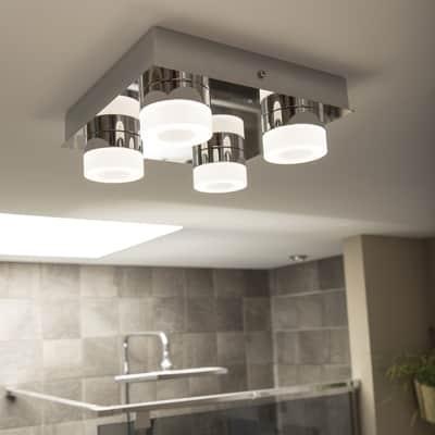 Plafoniera moderno Icaria LED integrato cromo, in alluminio, 26x26 cm, 4  luci INSPIRE