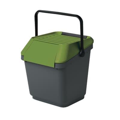 Pattumiera manuale grigio/verde 35 L