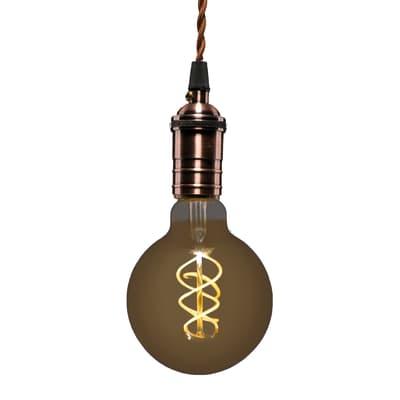 Lampadina LED E27, Globo,  diffusore Ambra, col.luce Bianco, Luce calda, 5W=250LM (equiv 25 W), 360° , LEXMAN