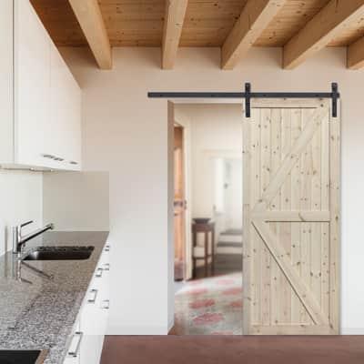 Porta scorrevole con binario esterno Loft grezzo in legno grezzo Kit  Factory L 86 x H 213 cm