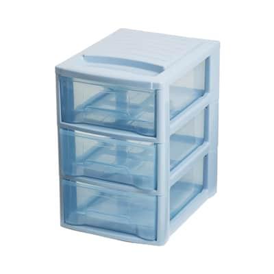 Cassettiera L 19.5 x P 26 x H 28.5 cm blu