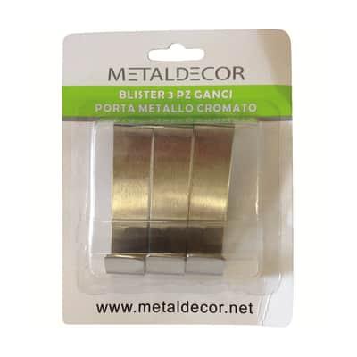 Appendiabiti in metallo 3 ganci cromo