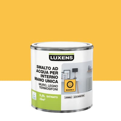 Vernice di finitura LUXENS Manounica base acqua giallo banana 3 satinato 0.5 L