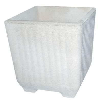 Fioriera Rigata in calcestruzzo colore bianco H 41 cm, L 38 x P 38 cm