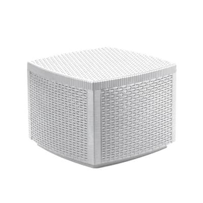 Tavolino da giardino quadrato contenitore Lipari con piano in resina L 53 x P 53 cm