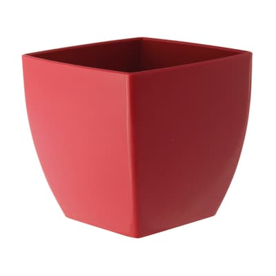 Vaso Quadro Siena ARTEVASI in polipropilene colore rosso H 13.5 cm, L 14 x P 14 cm
