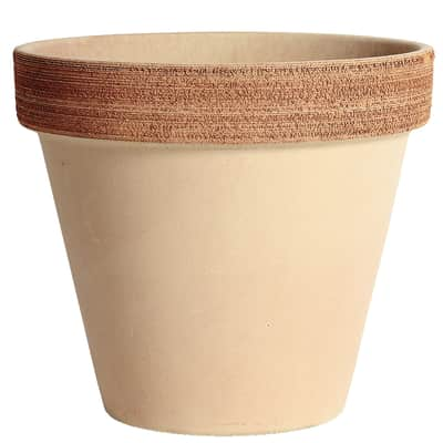 Vaso Alto graffiato in terracotta colore impruneta H 25.2 cm, Ø 23 cm