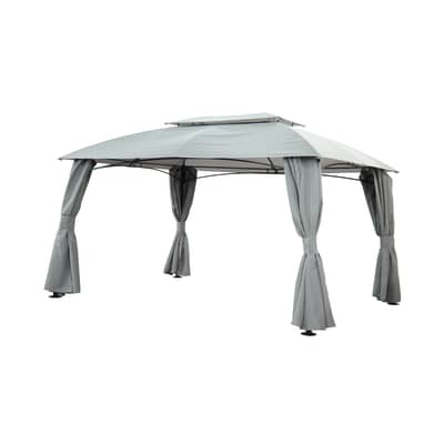Gazebo in acciaio, poliestere Anacapri grigio 300 cm x 2.7 m x 400 cm