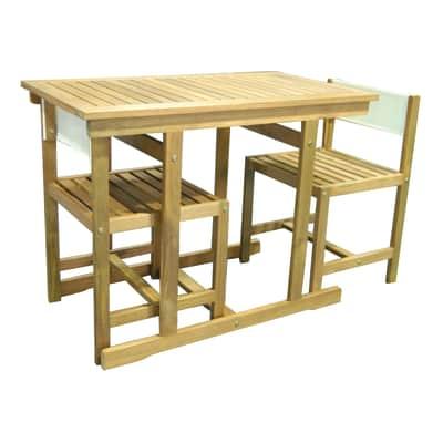 Set tavolo e sedie Balcony in legno beige 2 posti
