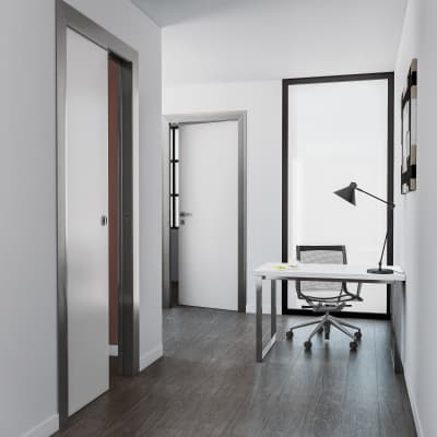 Porta a battente per ufficio Frame bianco L 80 x H 210 cm destra