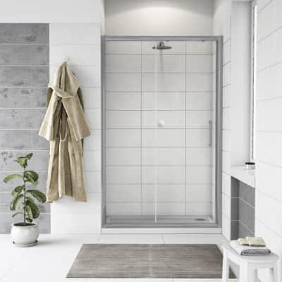 Porta doccia scorrevole Quad 120 cm, H 190 cm in vetro, spessore 6 mm trasparente cromato