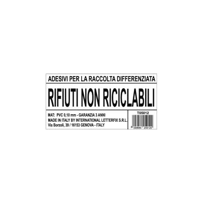 Cartello segnaletico Raccolta diff. mat. non riciclabile vinile 12 x 6 cm